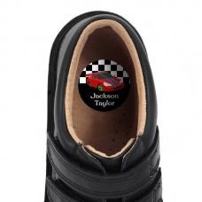 Race Cars Shoe Dot Label