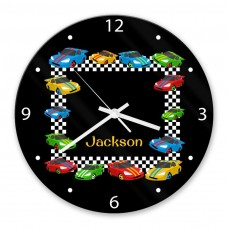 Race Cars Glass Wall Clock