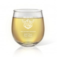 NRL Raiders Stemless Wine Glass