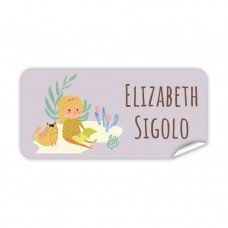 My Adventure - Reading Girl Rectangle Name Label