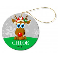 Reindeer Round Porcelain Ornament