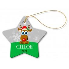 Reindeer Porcelain Christmas Star Ornament
