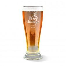Reindeer Christmas Engraved Premium Beer Glass