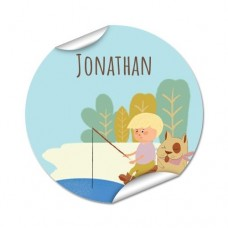 My Adventure - Fishing Boy Round Name Label