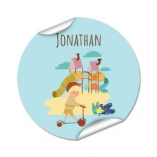 My Adventure - Playground Boy Round Name Label