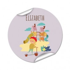 My Adventure - Playground Girl Round Name Label