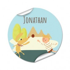 My Adventure - Playing Ball Boy Round Name Label