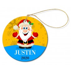 Santa Round Porcelain Ornament