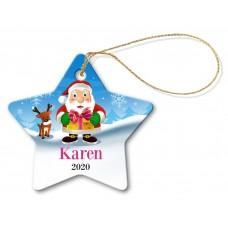 Santa Gift Star Porcelain Ornament