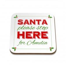 Santa Stop Square Coaster