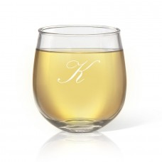 Single Initial Engraved Stemless Wine Glass