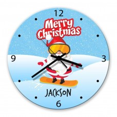 Snowboard Santa Glass Wall Clock