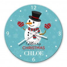 Snowman Glass Wall Clock
