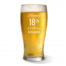 Fancy Happy Birthday Standard Beer Glass