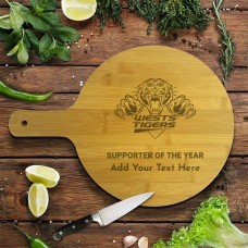 NRL Wests Tigers Round Bamboo Serving Board