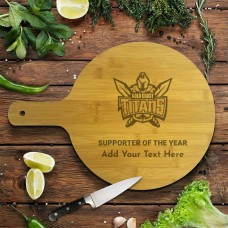 NRL Titans Round Bamboo Serving Board