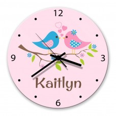 Two Birds Glass Wall Clock