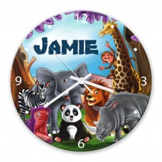 Visits the Zoo Glass Wall Clock
