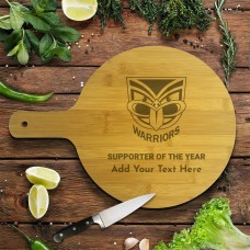 NRL Warriors Round Bamboo Serving Board