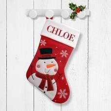 White Snowman Red Santa Stocking