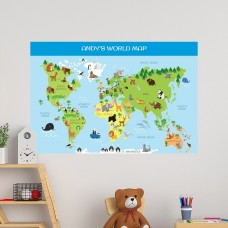 World Map Educational Wall Decal