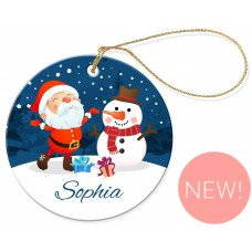 Frosty Christmas Round Porcelain Ornament