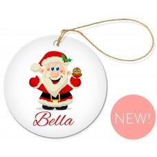Jolly Santa Christmas Round Porcelain Ornament