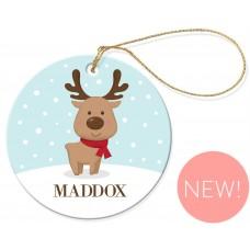 Little Reindeer Christmas Round Porcelain Ornament