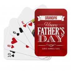 Red Happy Father's Day Playing Cards