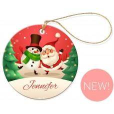 Santa Classic Christmas Round Porcelain Ornament