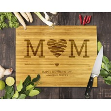 Mum Heart Bamboo Cutting Board