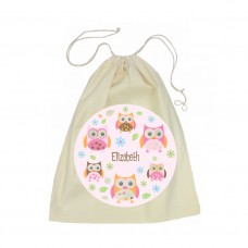 Owl Drawstring Library Bag