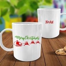Santa Sleigh White Plastic Mug