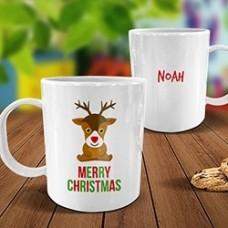 Cute Reindeer White Plastic Mug