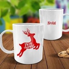 Reindeer White Plastic Mug