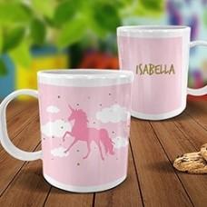 Pink Unicorn White Plastic Mug