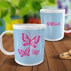 Butterflies White Plastic Mug