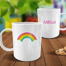 Rainbow White Plastic Mug